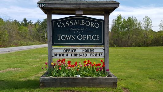 Town Office sign and flower bed.  Photo taken by Mary Sabins. (Vassalboro Maine)